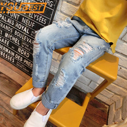 trend jeans Canada - Baby Boys Girls Hole Pants Baby Boys & Girls Ripped Jeans New 2017 Trend Denim Trousers For Kids Children Distrressed Trousers