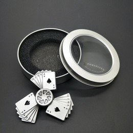 $enCountryForm.capitalKeyWord Australia - Free shipping Vintage playing cards Straight flush Fingertip gyro metal Three leaves alloy Finger toys adult child Unzipping toys