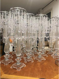 table decoration silver Australia - 70cm Tall Crystal Wedding Centerpiece Acrylic Flower Stand Centre Table Event Marriage Decoration chandelier 10PCS LOT