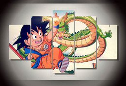 modern beauty canvas print NZ - Dragon Ball Group Cartoon No Frame 5 Pcs Canvas Wall Art Modular Pictures Beauty Wall Pictures For Living Room Modern Poster