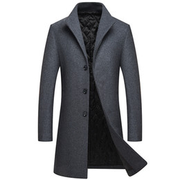 long trench UK - 2018 Winter Men Single Breasted Long Wool Overcoat Mens Slim Thick Warm Business Casual Jackets Trench Coat men's coat M-XXXL