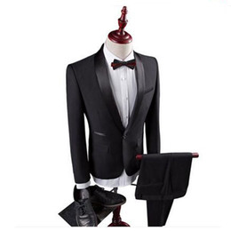 $enCountryForm.capitalKeyWord UK - 2018 Business Men Suits Black Shawl Lapel Wedding Suits Custom Bridegroom Tuxedos Slim Fit Formal Best Man Prom Evening Dress Party 2Piece