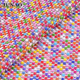 JUNAO 24 40cm Mix Color Hotfix Rhinestones Fabric Sheet Glass Mesh Trim  Resin Crystal Appliques Strass Band for DIY Clothes Jewelry Making 0942fa5e74b3