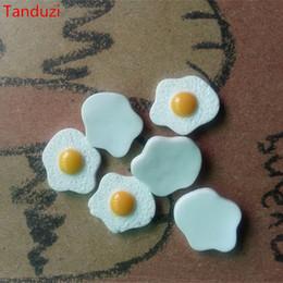 12 Cm Fan Australia - crafts diy Tanduzi 20pcs Flatback Resin Cabochons Kawaii Simulation Food Poached Eggs DIY 1:12 Dollhouse Miniature Decoration Resin Crafts
