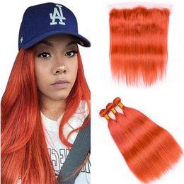 Опт Фронтальные и оранжевые пучки волос от уха до уха Шелковистая прямая обожженная оранжевая девственница Малайзии Плетение волос 3 пучка с кружевом фронтальной