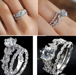 rhodium plated cz 2018 - EXCLUSIVE Lady's 925 Sterling Silver Flower Simulated Diamond CZ Paved Stone 2 Statement Wedding Band Ring Sets Jew