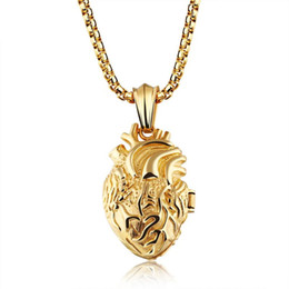 Mens angel necklace online shopping - 4 CM Heart Organ Pendant Locket Float Hip Hop Designer Jewelry Choker Iced Out Chains Mens Stainless Steel Jewelry Mens Necklace