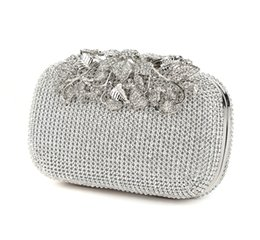 black evening bags clutches UK - Flower Crystal Evening Bag Clutch Bags Clutches Lady Wedding Purse Rhinestones Wedding Handbags Silver Gold Black Evening Bag