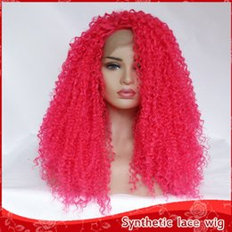 Discount heat resistant hair synthetic curly - Natural Soft Rose Red Cosplay Kinky Curly Wigs with Baby Hair 180% Density Heat Resistant Halloween Synthetic Lace Front