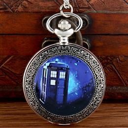 $enCountryForm.capitalKeyWord Australia - Classic Doctor Who Tardis Silver Pocket Watch Vintage Men Women Pendant Necklace Quartz Watch gift