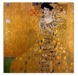 $enCountryForm.capitalKeyWord NZ - Framed Handpainted Classical Abstract Art Oil Painting Gustav Klimt - Female Portrait of Adele Bloch-Bauer I On Canvas.wall Art Home p252