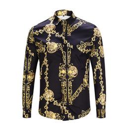 821c15b9e3fa2 2018 Automne Mode des hommes floral vague d impression overhe mélange de  couleurs luxe casual Harajuku chemises manches longues patchwork chemises  méduse