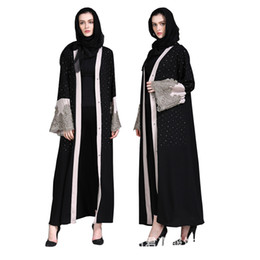 muslim clothing black UK - Muslim Women Cardigan Abaya Diamond Embroidery Turkish Dress Contrast Color Dubai Kaftan Middle East Robes Islamic Clothing Jalabiya