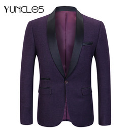 casual male wedding suits 2019 - YUNCLOS 2018 Wedding Party Men Suit Jacket Solid Color Shawl Collar Casual Slim Fit Male Blazer Prom Blazers veste homme