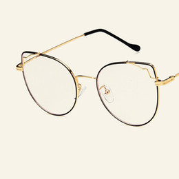 Discount new spectacles frames for men - New Retro large frame cat eye flat mirror metal spectacle frame fashionable personality spectacle frames for men and wom