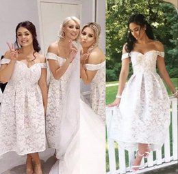 $enCountryForm.capitalKeyWord Canada - Elegant Vintage Lace Off Shoulders Bridesmaid Dresses 2019 Tea Length A Line Satin Maid Of Honor Gowns Custom Made Wedding Guest Party Wear