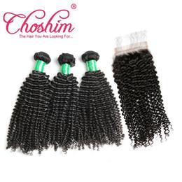 Silk Base Baby Hair Australia - Choshim Kinky Curly Silk Base Closure With Bundles Brazilian Remy Hair Human Hair Closure Bleached Knots With Baby Hair