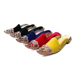 c977f647725bb5 The new style of autumn and winter Hollow out Flower Velvet slippers women  Retro gemstone drill Metal fastener Muller shoes women