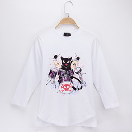 jazz boys clothes Canada - 2018 Fashion Nova Kids Clothes Children T-shirt Jazz Drum kit Cat Rock 100% Cotton Full Boy Long Sleeve T Shirts Baby Girl Tops Child Shirt