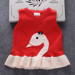 red baby vest NZ - 2018 Autumn Candy colors Girls Knitting Vest dress Cartoon swan Baby coat Knitted Vest skirt Spring Kids Outerwear Children Jackets