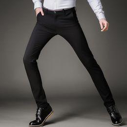 $enCountryForm.capitalKeyWord NZ - Fashion Skinny Casual Pants Men Stretch Business Office Formal Mens Dress Pants Slim Fit Pencil Male Trousers Black