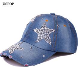 c2128ef3a7247 USPOP 2018 Las mujeres más nuevas gorras de béisbol Moda de verano  casquillo del diamante casquillos de béisbol ocasionales del dril de  algodón casquillo ...