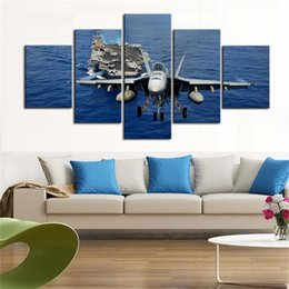 Art Canvas Prints Australia - Modern 5 Piece Wall Art Airplane Picture Canvas Painting Print Stretched And Framed Aircraft And Ship Pictures Artwork For Home Decor