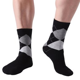 d82bc7872ad 10 Pair Lot Men  S Socks Solid Color Cotton Socks Argyle Pattern Crew Socks  For Business Dress Casual Funny Long Sock