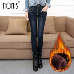 winter warm leggings for women 2019 - Nonis Warm Jeans For Women Thick Denim Pants Winter Skinny Leggings Female Stretch Straight Rivet High Waist Femme Penci