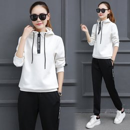 Wholesale Spring and Autumn Winter New Korean Sportswear Set Women s Casual Long Sleeve Thin Sweatshirt Two piece Set