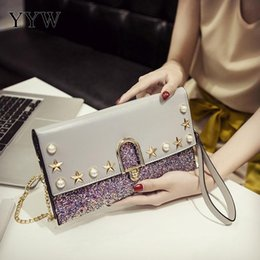 $enCountryForm.capitalKeyWord Canada - Pu Leather Rivet Envelope Clutch Bags For Women 2018 Fashion Chain Shoulder Bag With Plastic Pearl Sequin Evening Clutches