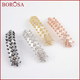 Chinese  BOROSA Multicolor CZ Micro Pave Cubic Zircon Crystal Bead Arrowhead Connector for DIY Fashion Charm Bracelet Making WX826 manufacturers