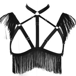 China Body Harness Cage Sexy Tops Feather Bra Bondage Black Tops Bra for Women Plus Elastic Goth Festival Halloween Dance Cosplay Wear supplier cosplay gray sexy suppliers