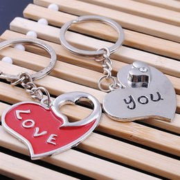$enCountryForm.capitalKeyWord NZ - Metal Couple Romantic Heart Keychain Love You Lovers keyring Valentine's Day Gift Wedding Favors Keychains with card + DHL free shipping