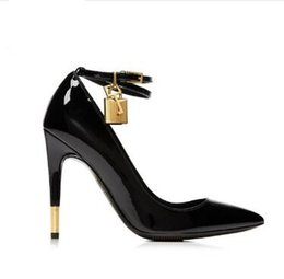 $enCountryForm.capitalKeyWord UK - 2018 Nude White Patent Leather High Heels Shoes Metal Padlock Women Dress Shoes Sexy Pointed Toe Buckle Strap Women Pumps