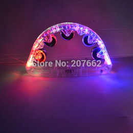 Wholesale cm plastic led bell Handbell Flashing Light Tambourine Toy for Festival Party Cheering