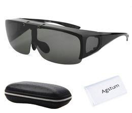 403c6c4e47 Agstum Mens Womens Wraparound Goggles Polarized Fishing Driving Glasses  Flip Up Fit Over Sunglasses