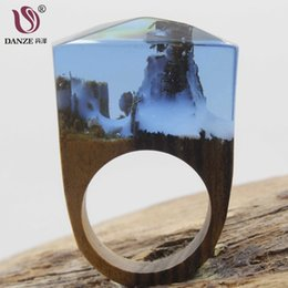 $enCountryForm.capitalKeyWord Australia - DANZE Beauty Magic Womens Wood Resin Rings Handmade Forest Mountain Wooden Finger Bands For Wedding Drop Shipping Jewelry