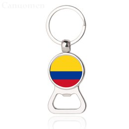 car bottle opener UK - World Cup 2018 Beer Bottle Opener Key Chains Colombia Grenada Cuba Guyana Flag Car Keyrings EDC Men Fashion Jewelry Wholesales