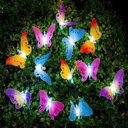 2018 Hot 12 LED Solar Powered Butterfly luce Fibra Ottica Fata String Outdoor Garden Lights lampada Holiday Festival Party Decor