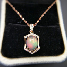 $enCountryForm.capitalKeyWord NZ - TBJ ,Natural ethopian opal oval cut 8*10 pendants with chain in 925 sterling silver gemstone necklace with gift box S18101105