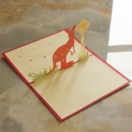 Wedding invitations papers online shopping - 3D Greeting Cards Kangaroo Originality Pure Hand Diy Birthday Card Hollow Out Carve Paper Wedding Invitations ym gg