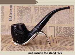 smoking wood pipes carve NZ - free shipping USA new carved Ebony Smoking Pipe mouthpiece Filter bent Classic Wood herb Tobacco Pipe cigarette holder cigarette stem Smoke
