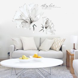 Simple Wallpapers UK - two large white flowers wall stickers decals women home living room bedroom store decor simple pattern removable wallpaper mural