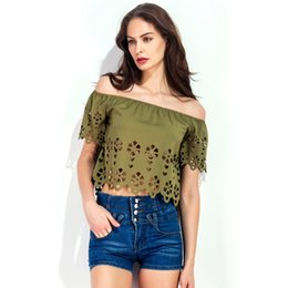 Sexy Army Shirts Australia - Wine Red Army Green T-Shirts Slash Neck For Women 2018 Sexy Hollow Out Crop Tops Female Summer Off Shoulder Top T-shirt Women's