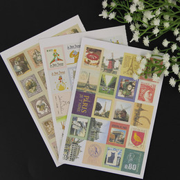 Stamp Paper Sticker Australia - 4 Sheets 1 Bags DIY New Vintage Classic Stamp Sticker Prince Paris Sticky Scrapbooking Paper for Diary Decor Stationery