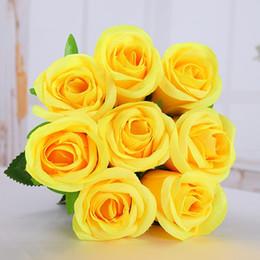 $enCountryForm.capitalKeyWord NZ - High Quality (10pcs lot) Romantic Artificial Yellow Rose Flower DIY Velvet Silk Flower for Party Home Wedding Holiday Decoration