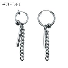 5769ee714 AOEDEJ Circle Earrings For Men Tassels Small Hoop Earrings GD Jewellery Punk  Women's Biker Non Pierced Earring