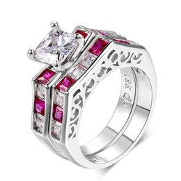 $enCountryForm.capitalKeyWord Australia - Square-cut Cubic Zirconia Silver Color Fashion Cocktail Party Jewelry Ring Sets for Women Girl Wholesale Full Size
