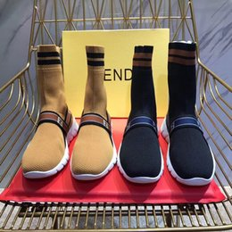 Chinese  ladies short boots letters knitting socks shoes breathable elastic for stovepipe boots F fashion Trainer Runner winter stretch boots of men manufacturers
